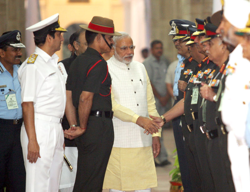 The Prime Minister, Shri Narendra Modi being introduced to the top Commanders of the army, during Combined Commanders' Conference, in New Delhi on October 17, 2014.